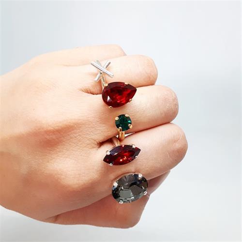 טבעת קייט אדום ירוק זהב