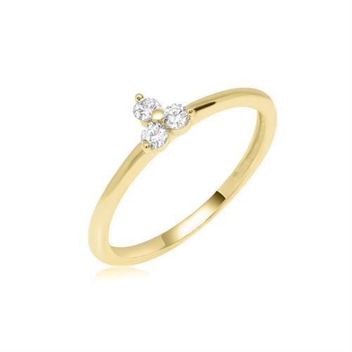 טבעת טריו זהב ויהלומים 0.15 קראט| טבעת זהב עדינה יהלומים