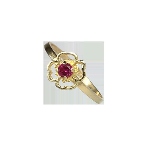 טבעת ילדות ונערות זהב צהוב 14K זירקון בורדו OP09140014540