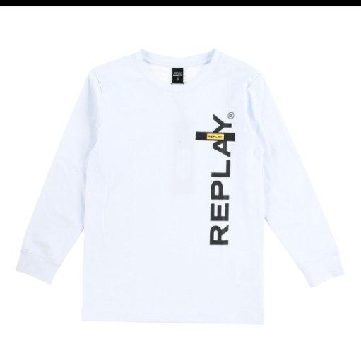 חולצת טישרט לבנה  בשילוב צהוב  REPLAY