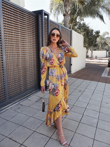 שמלת הרמוסה - פרחונית צהובה