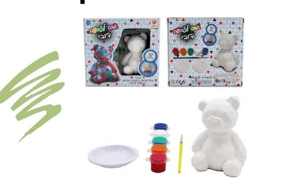 גבס לצביעה צורות גאומטריות+צבעים -דובי