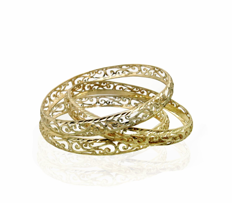 צמיד זהב מרוקאי תחרה זהב צהוב 14 קאראט