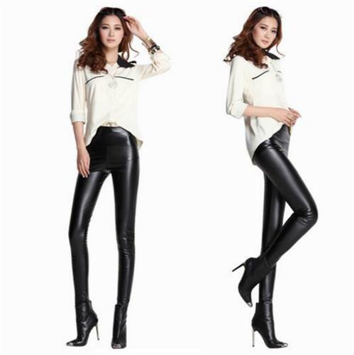 מכנסי טייץ שחור סקסי דמוי עור חומר נמתח