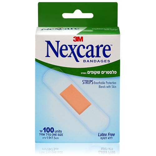 Nexcare  פלסטרים שקופים נושמים 100 יחידות בגודל אחיד