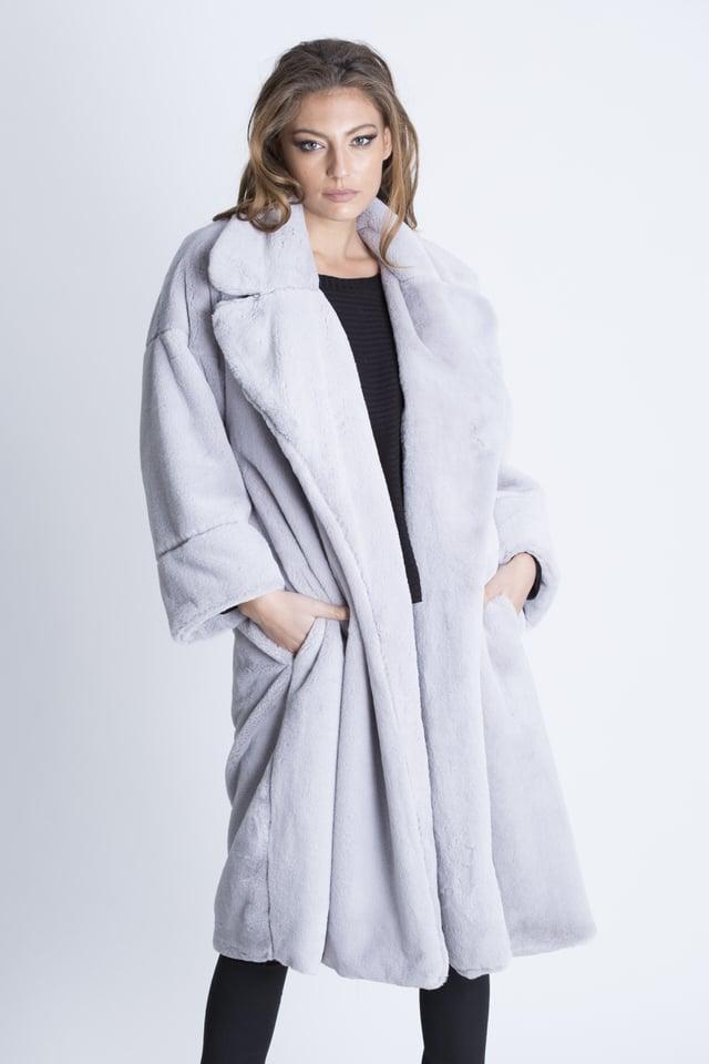 מעיל טיפאני דמוי פרווה אפור