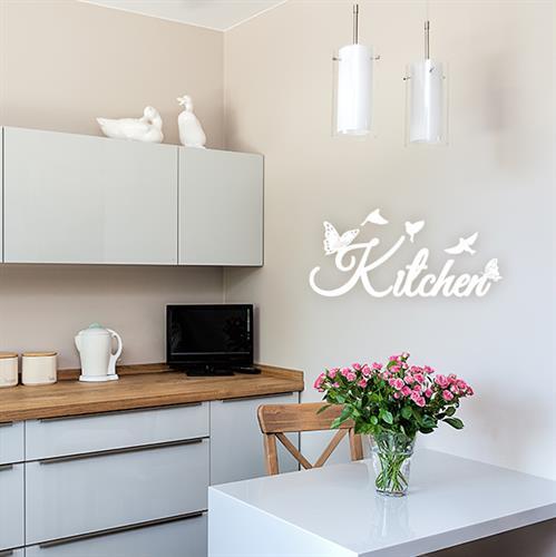 מדבקת Kitchen עם פרפרים וציפורים | משפטי השראה | מדבקות קיר משפטים | מדבקות | מדבקות קיר מעוצבות