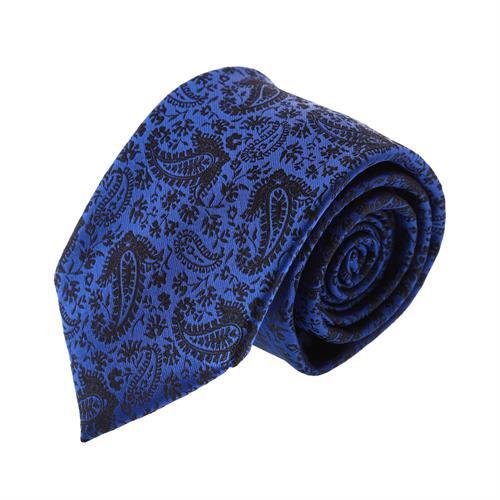 עניבה קלאסית פייזלי כחול רויאל בשילוב שחור