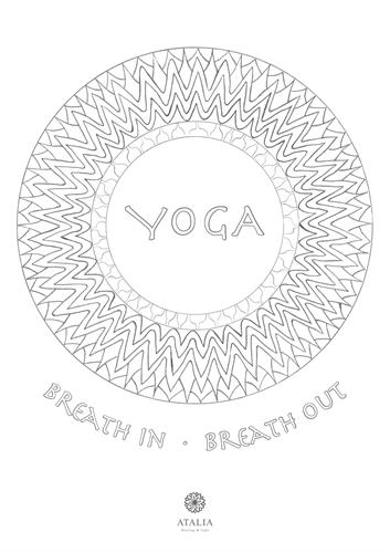 דפי מנדלות לצביעה - YOGA - BREATH IN * BREATH OUT
