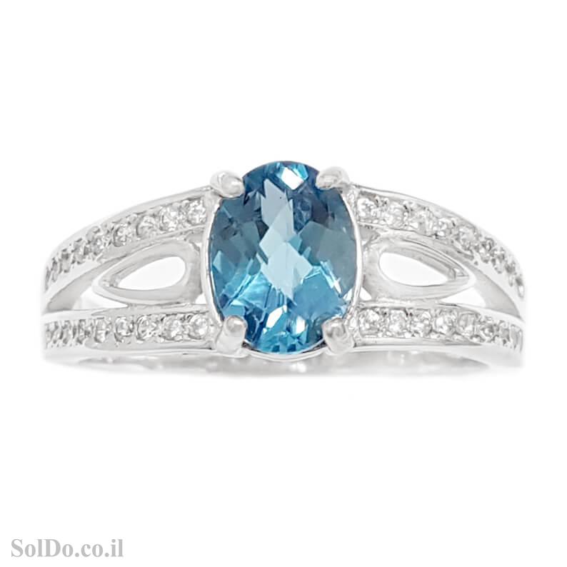 טבעת מכסף משובצת אבן טופז כחולה  וזרקונים RG6144 | תכשיטי כסף 925 | טבעות כסף