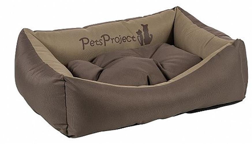מיטה לכלב מבד דוחה נוזלים ופרווה בצבע חום בז' במגוון מידות