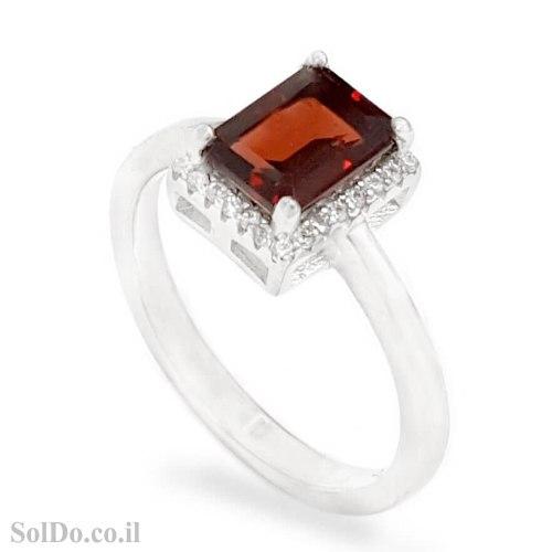 טבעת מכסף משובצת אבן גרנט ואבני זרקון RG6185 | תכשיטי כסף 925 | טבעות כסף