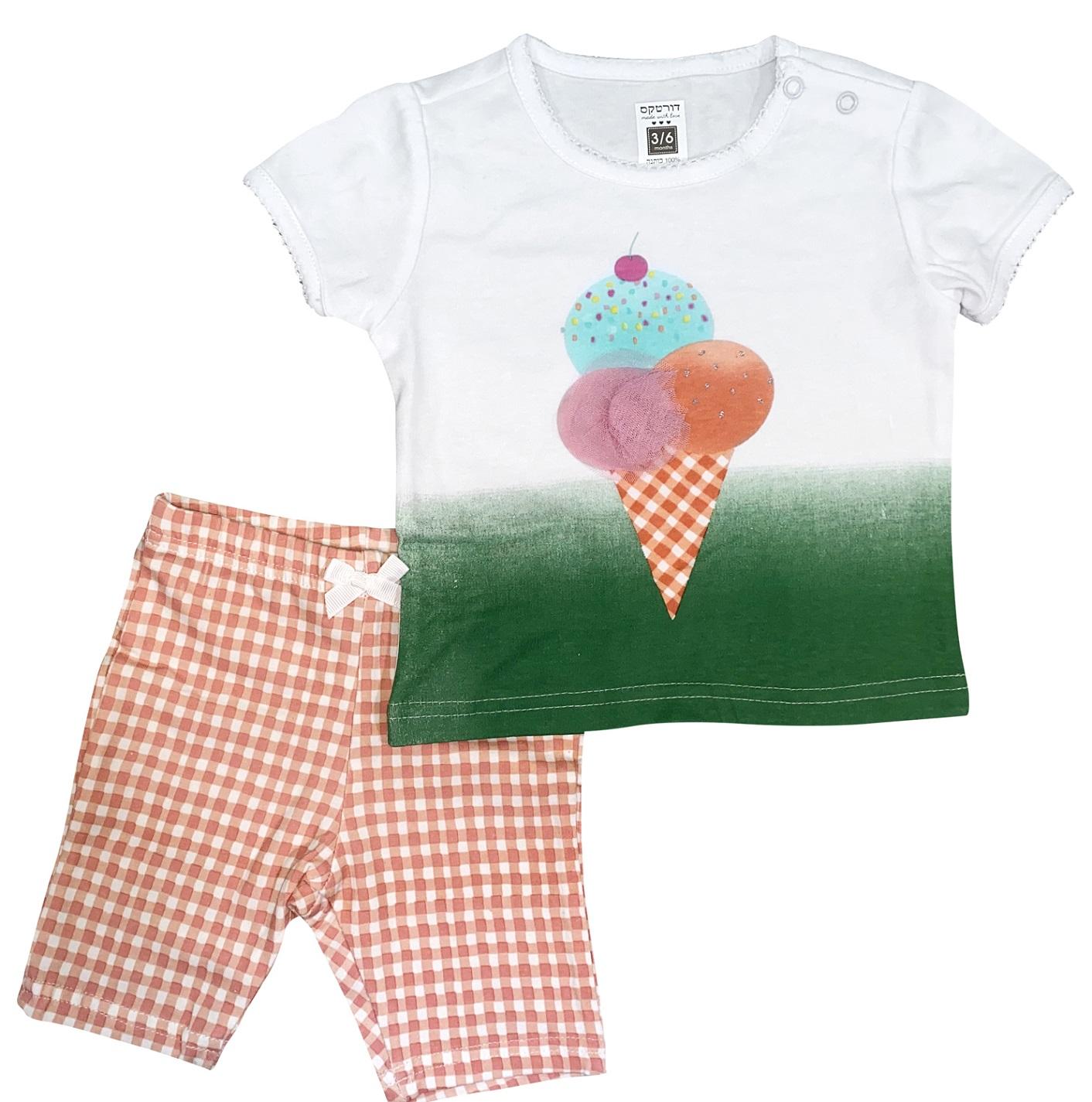 חליפה קצרה גלידה לבן-ירוק