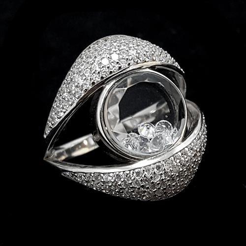 טבעת כסף משובצת זרקונים לבנים וקריסטלים  RG3204 | תכשיטי כסף 925 | טבעות כסף