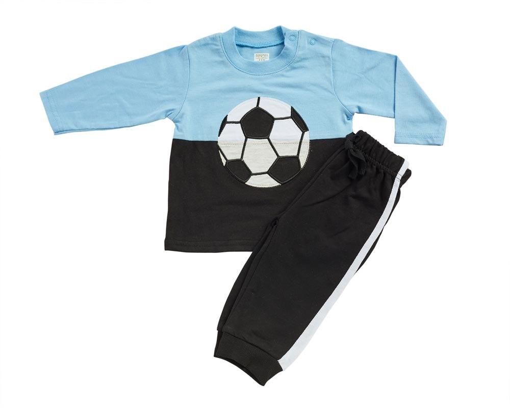 חליפת מעבר כדורגל תכלת-שחור מכנס פרנצ׳ טרי