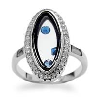 טבעת מכסף משובצת אבני זרקון וקריסטלים כחולים RG5643 | תכשיטי כסף 925 | טבעות כסף
