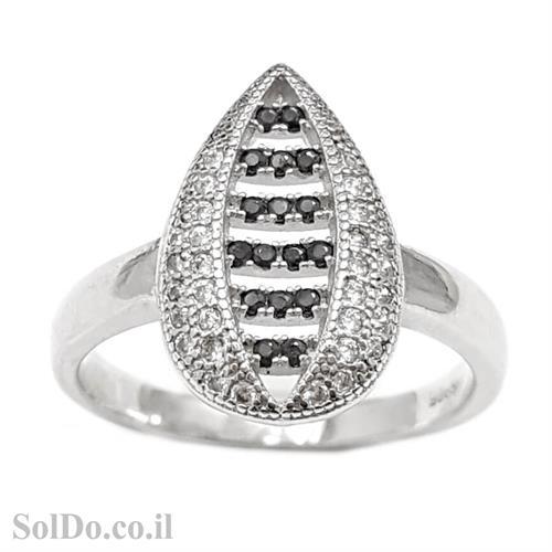 טבעת מכסף משובצת אבני זרקון לבנות ושחורות RG1592 | תכשיטי כסף | טבעות כסף