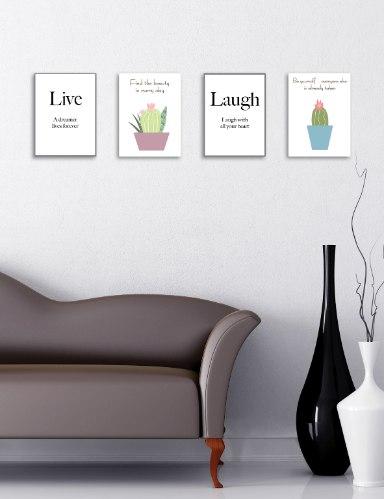 רביעיית תמונות השראה לחיות, קקטוס סגול, קקטוס כחול והמילה לצחוק, דגם 6