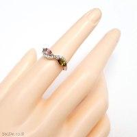 טבעת מכסף משובצת אבני טורמלין ואבני זרקון RG6323 | תכשיטי כסף 925 | טבעות כסף
