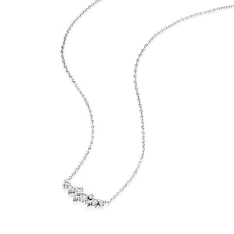 שרשרת זהב לבן 14 קראט משובצת יהלומים