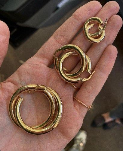 עגילי חישוק עבה זהב 14K M