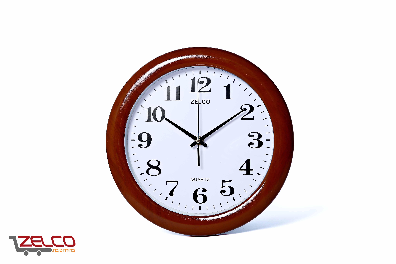 שעון קיר דמוי עץ עגול צבע ליבנה אירופאי