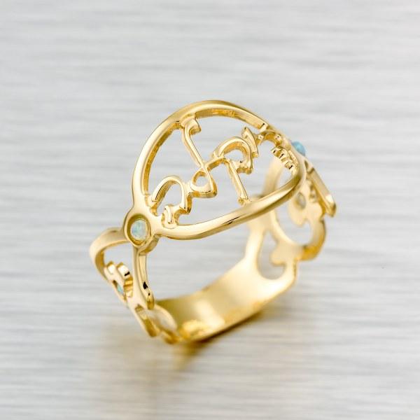 טבעת שם בעיצוב אישי גולדפילד 18 קראט משובצת