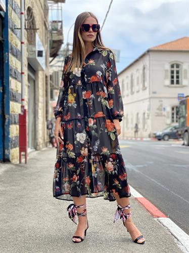 שמלת קיילי שיפון  פרחים שחור