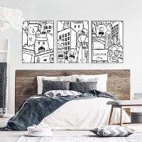 סט שלוש ציורים להלבשת חדר שינה של האמן כפיר תג'ר