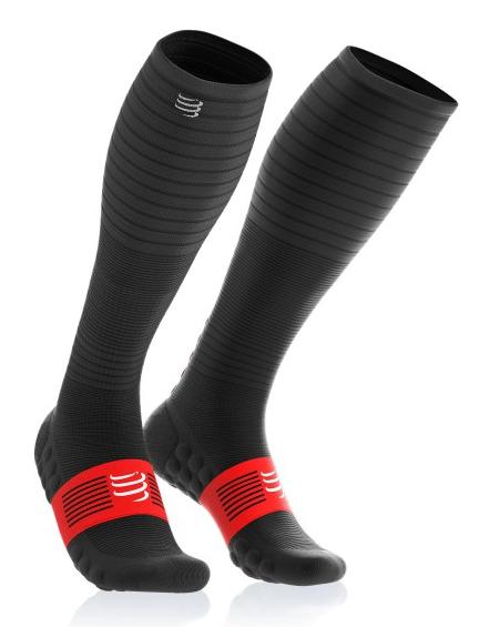 זוג גרביים מלאים לרכיבה ולריצה דגם 2019 - endurance צבע שחור