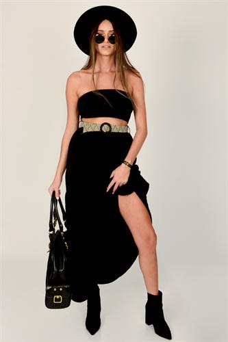 חצאית  איימי לבן/שחור/שחור פרחוני