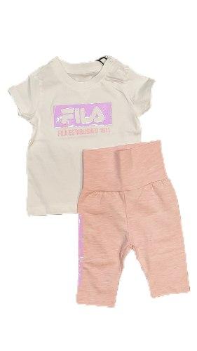 חלחפת תינוקות בנות חולצה לבנה טייץ ורודFILA