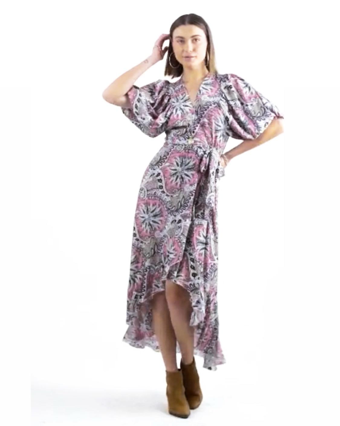 שמלת ג׳ו מעטפת - פרינט ורוד