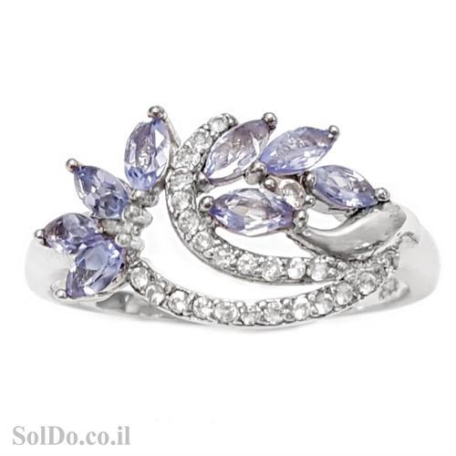 טבעת כסף משובצת אבני טנזנית וזרקונים RG6036| תכשיטי כסף 925 | טבעות כסף