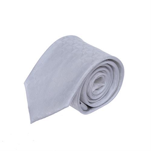 עניבה חתנים גאומטרי לבן