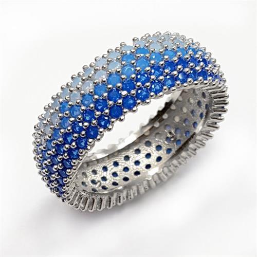 טבעת כסף רחבה משובצת אבני זרקון צבע תכלת RG5540| תכשיטי כסף | טבעות כסף