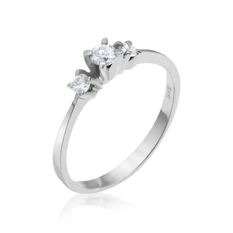 טבעת 3 אבנים זהב לבן 0.20 קרט