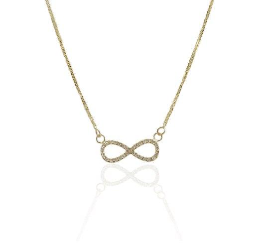 שרשרת זהב אינפיניטי יהלומים 0.20 קראט │ שרשרת אינפיניטי משובצת יהלומים │ תליון אינסופ