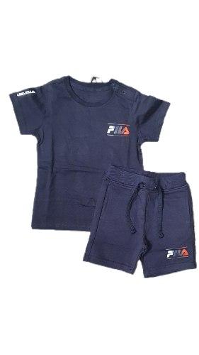 חליפת תינוקות כחולה כיתוב צבעוני  FILA