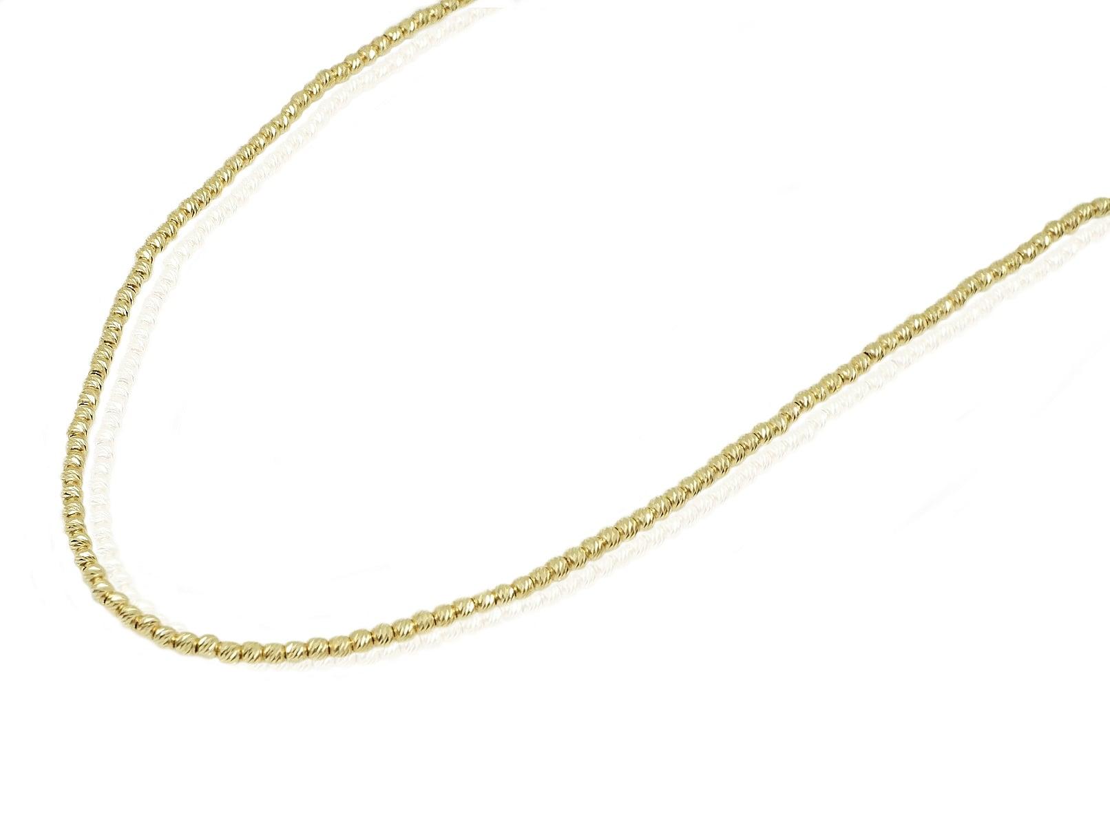 """שרשרת כדורים זהב 42 ס""""מ שרשרת זהב כדורים לאישה"""