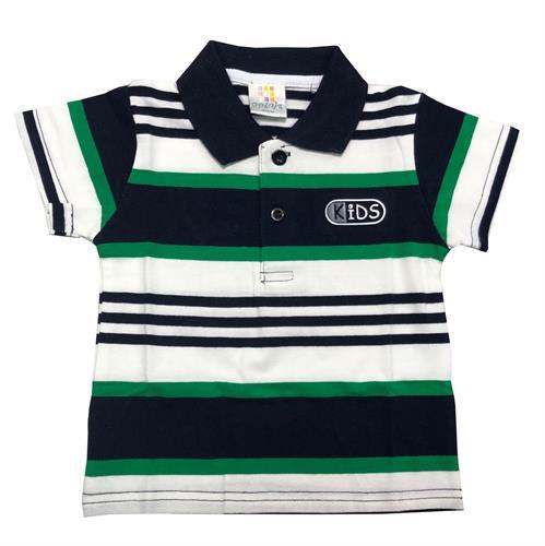 חולצת פולו פסים שחור-לבן-ירוק