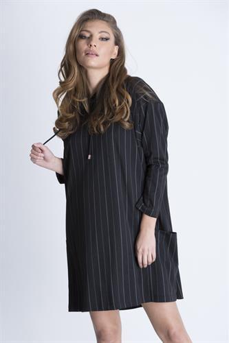 שמלת פאנקי פסים שחור