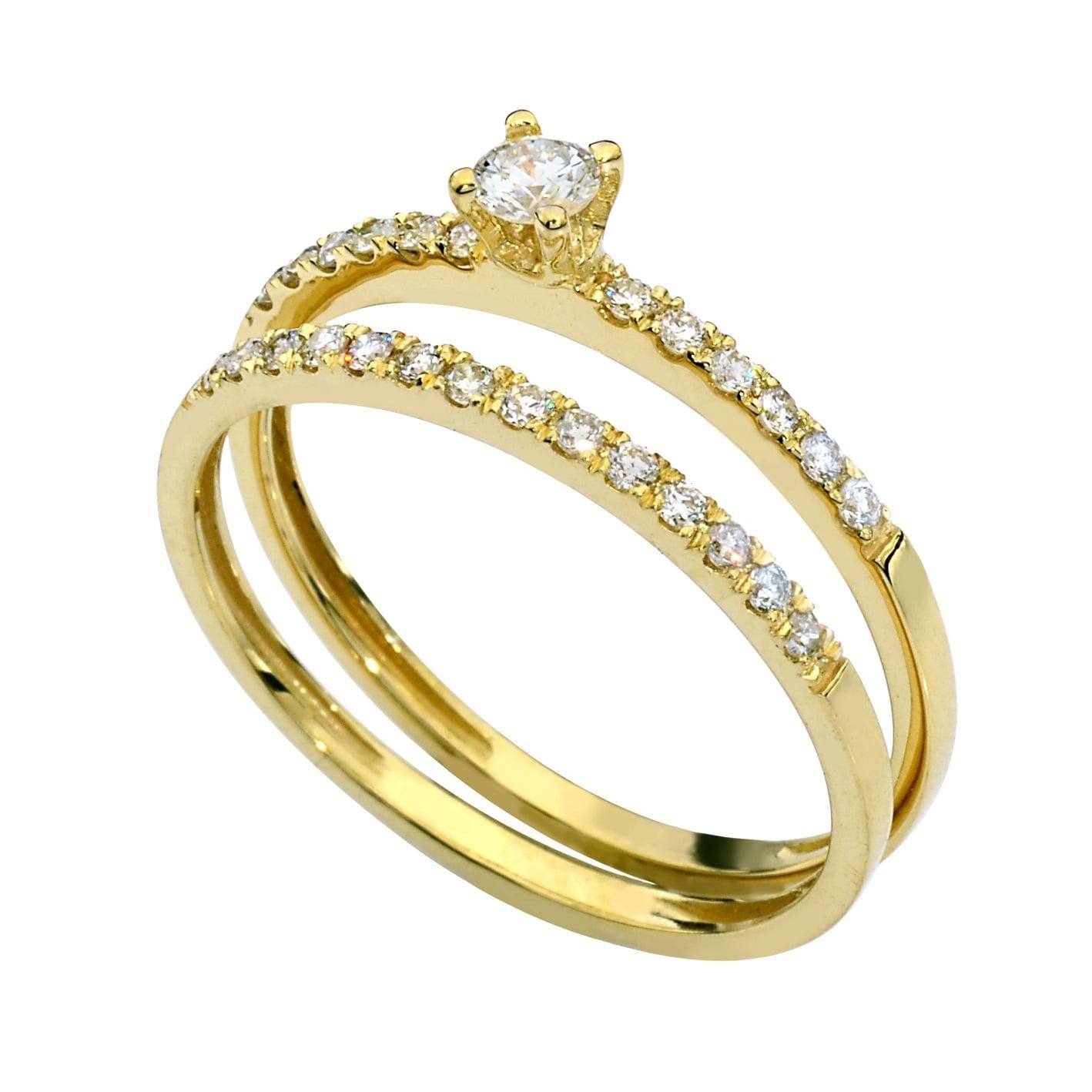 טבעות יהלומים צמודות 0.40 קראט בזהב 14 קאראט