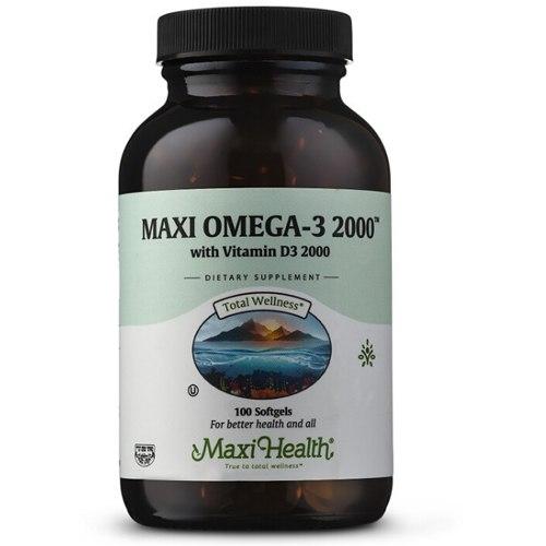 אומגה 3  עם ויטמין D, מכיל 200 כמוסות רכות, מקסי הלט