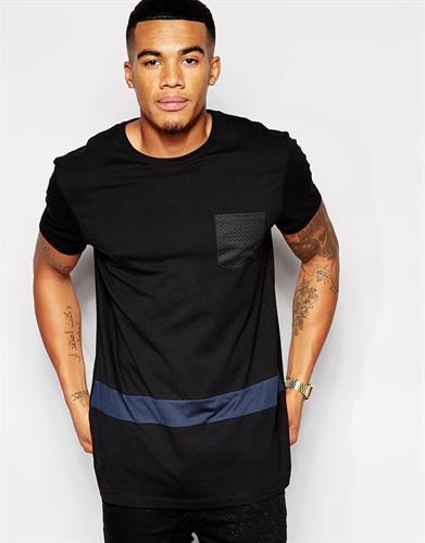חולצת היפ הופ אופנתית ארוכה שרוול קצר כיס פס כחול