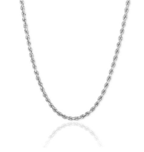 """שרשרת זהב לבן חבל לגבר 3.7 מ""""מ 50-59 ס""""מ"""