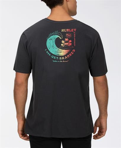 HURLEY GET SHACKED  T-SHIRT- BLACK