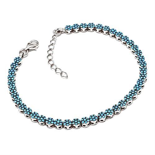 צמיד כסף משובץ אבני זרקון כחולות Z3025 | תכשיטי כסף 925 | צמידי כסף