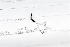 כוכב שטוח ממתכת -לבן (גודל S)