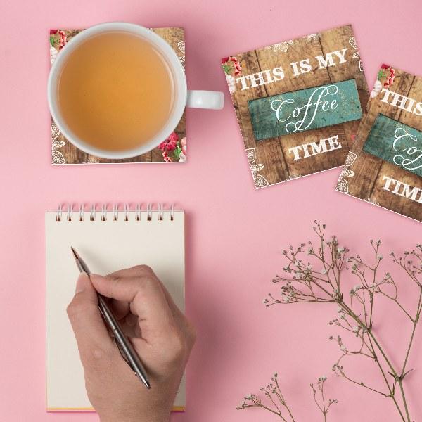 תחתיות לכוסות It's my coffee time | סט 6 תחתיות קפה | תחתית לכוס | מתנות קטנות ומהממות | מתנה למשרד